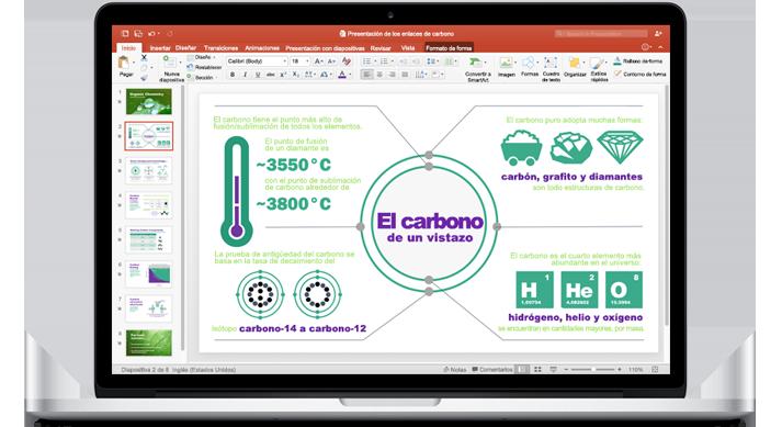 Un MacBook que muestra una nueva presentación de PowerPoint para Mac.