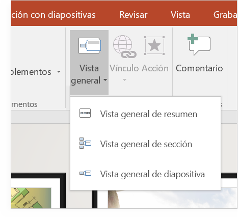 Una tableta en la que se muestra una diapositiva de PowerPoint con la Vista general