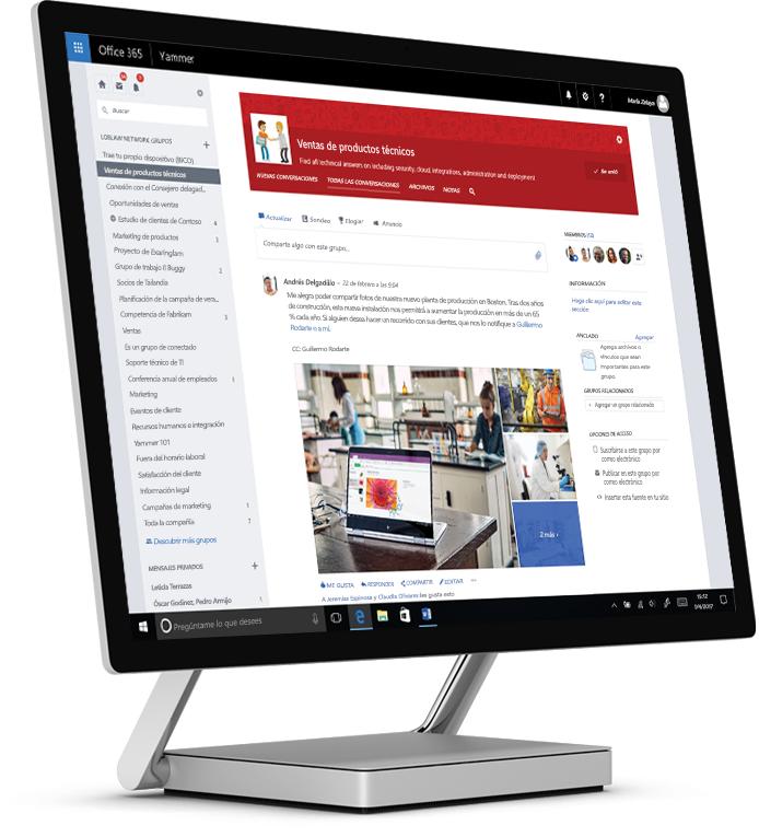 Yammer en una tableta en la que se muestran fotografías compartidas y un grupo multifuncional técnico y de ventas