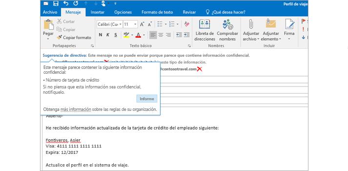 Una sugerencia de directiva en un correo para ayudar a los usuarios a impedir que envíen información confidencial.