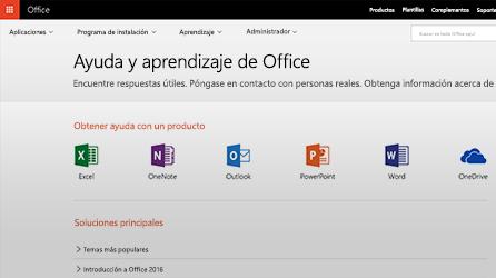 Captura de pantalla de ayuda y aprendizaje de Office en Office 365
