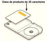 Ubicación de la clave de producto en la caja del DVD