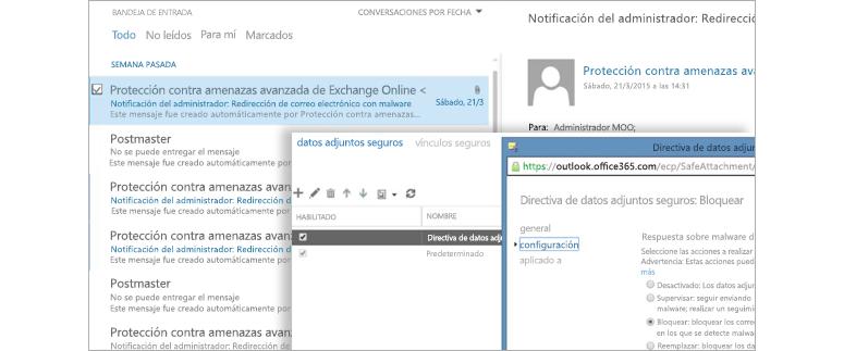 Captura de pantalla de un correo electrónico de notificación de un administrador y una ventana de directiva de Datos adjuntos seguros.