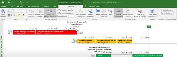 Captura de pantalla de un archivo de proyecto abierto en Project Professional