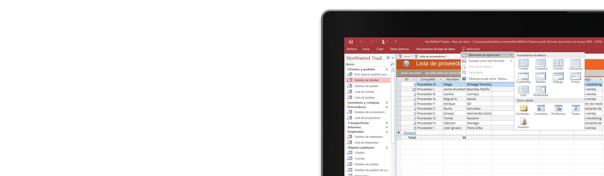 La esquina de la pantalla de un equipo que muestra una lista de proveedores en una base de datos de Microsoft Access