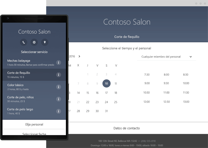 Un teléfono donde se muestran las herramientas de programación online de Office 365 Bookings.