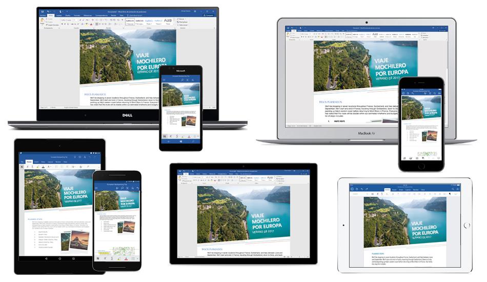 Documento de Word sobre un viaje con mochila por Europa mostrado en diferentes equipos portátiles, tabletas y teléfonos, obtener información sobre cómo conseguir aplicaciones móviles de Office gratis.