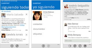 Tres capturas de pantalla de un suministro de noticias de SharePoint Online en distintos dispositivos móviles.