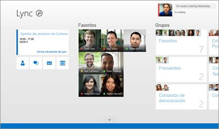Una captura de pantalla de una página de inicio de Lync con vistas en miniatura de contactos y opciones de conexión.