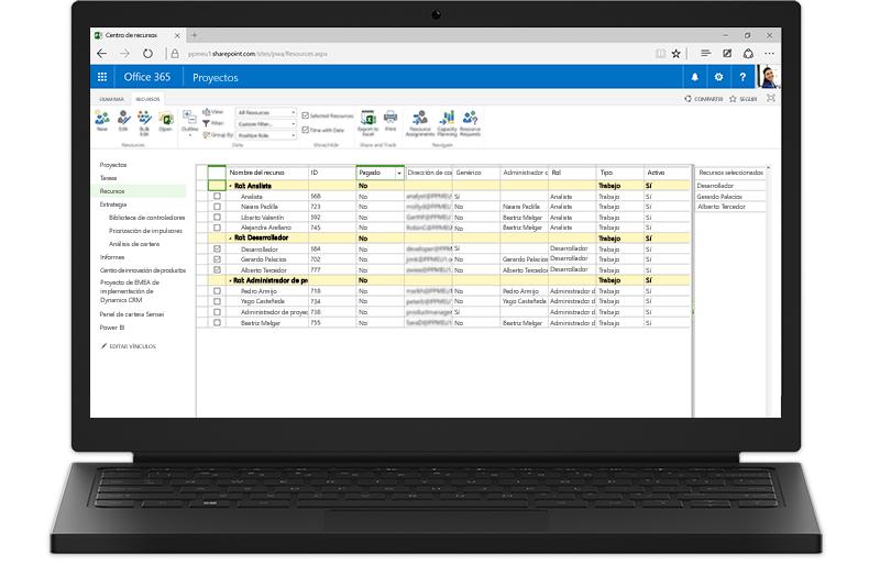 Un portátil que muestra características basadas en SharePoint de Project Server