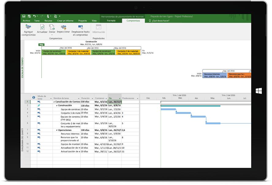 Pantalla de una tableta Microsoft Surface donde se muestra un archivo de Project con una programación y una escala de tiempo en Project Profesional.