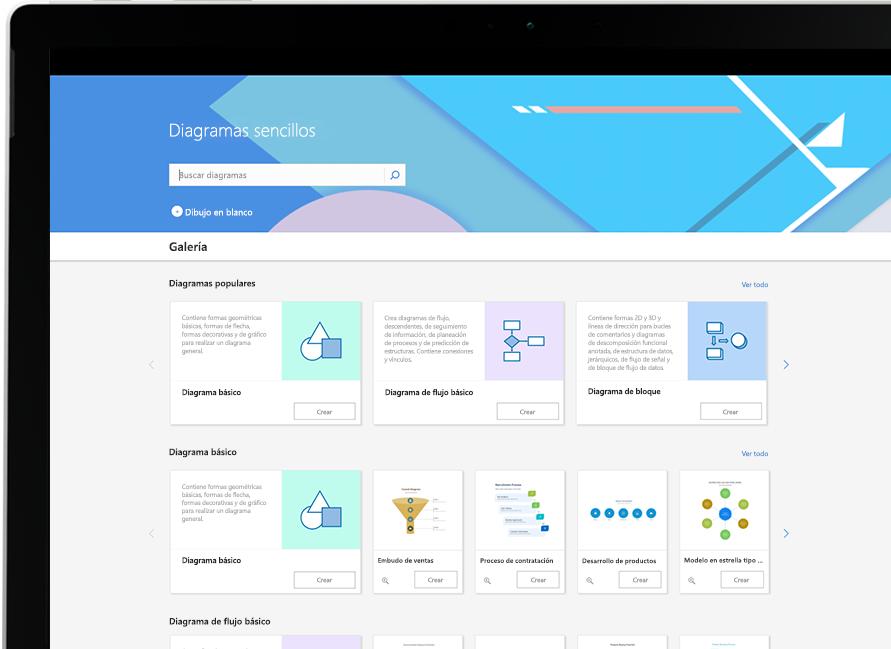 Galería de diagramas de Visio que muestra diagramas básicos y populares