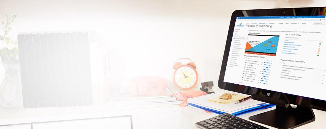 Un monitor de escritorio que muestra un documento de ventas y marketing en SharePoint.