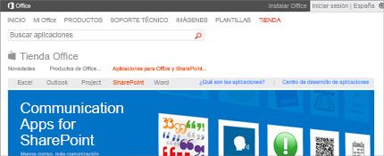 Captura de pantalla de la página de aplicaciones de SharePoint en la Tienda Office.