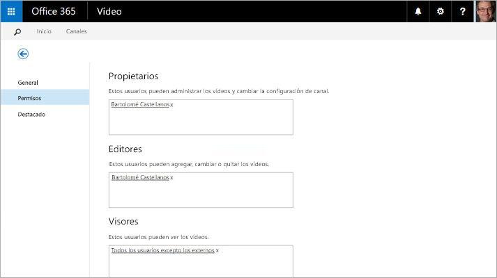 Una captura de pantalla de la página Administrar portal de vídeo en Office 365 Video.