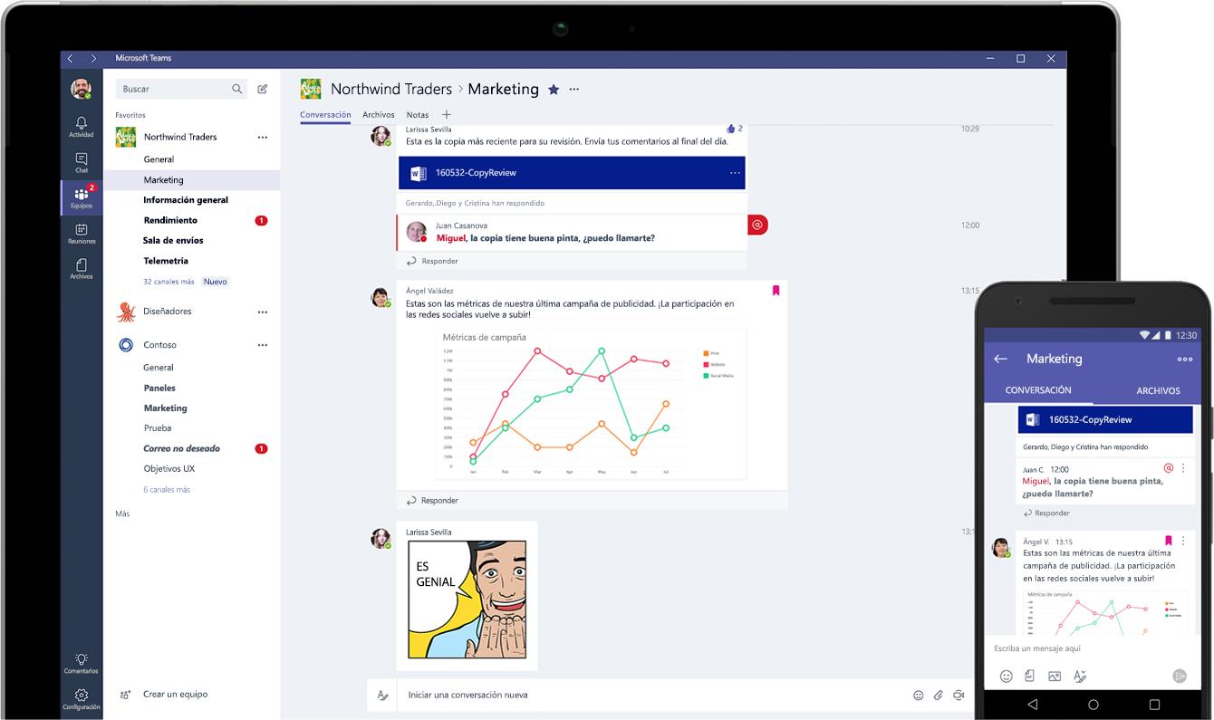 Una tableta y un smartphone en los que se muestran conversaciones de chat en Microsoft Teams