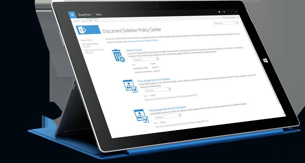 Una captura de pantalla que muestra el centro de directivas de cumplimiento de SharePoint