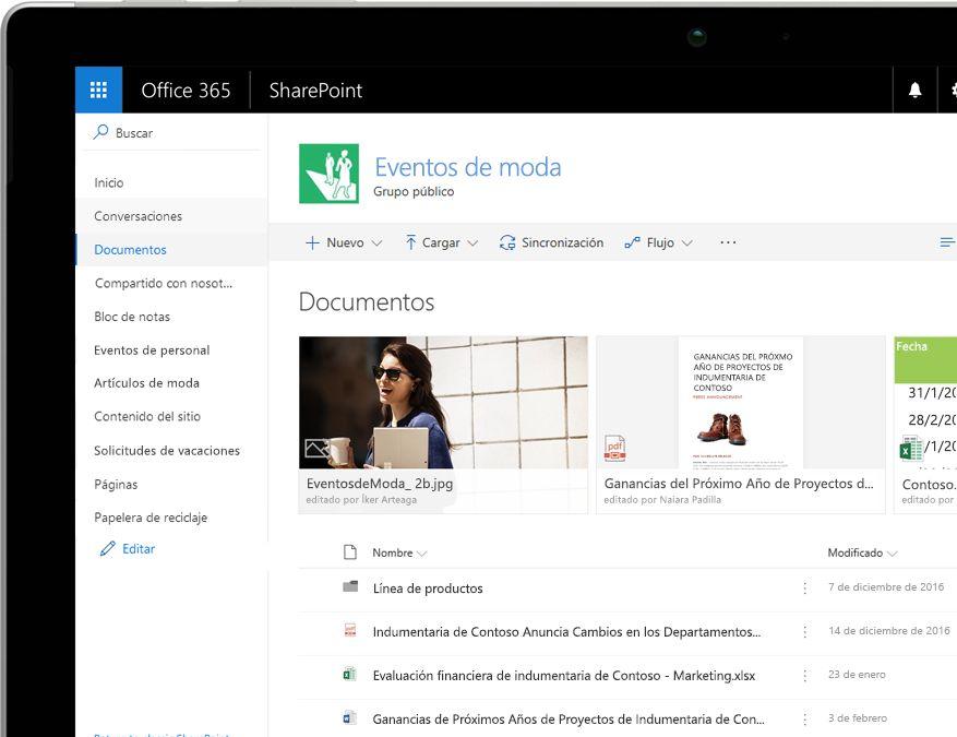 Biblioteca de documentos de SharePoint con filtros