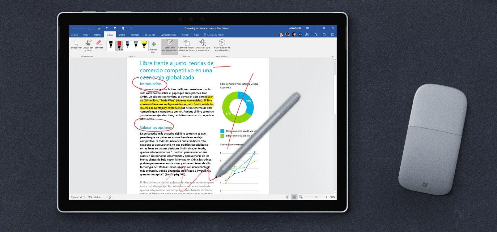 Pantalla de una tableta en la que se muestra el Editor para entradas de lápiz