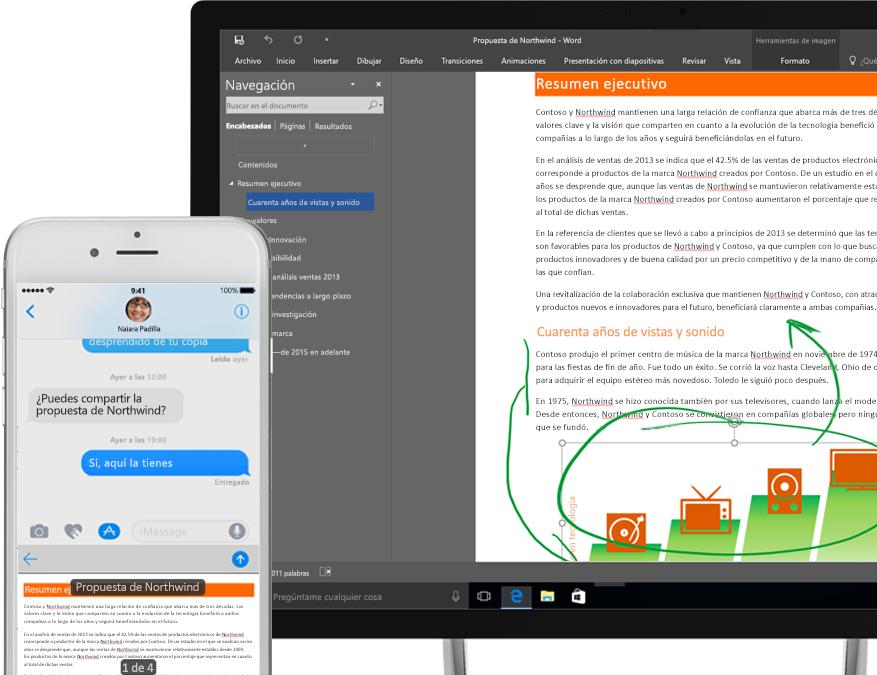 archivos mostrados en OneDrive en un smartphone y en una tableta