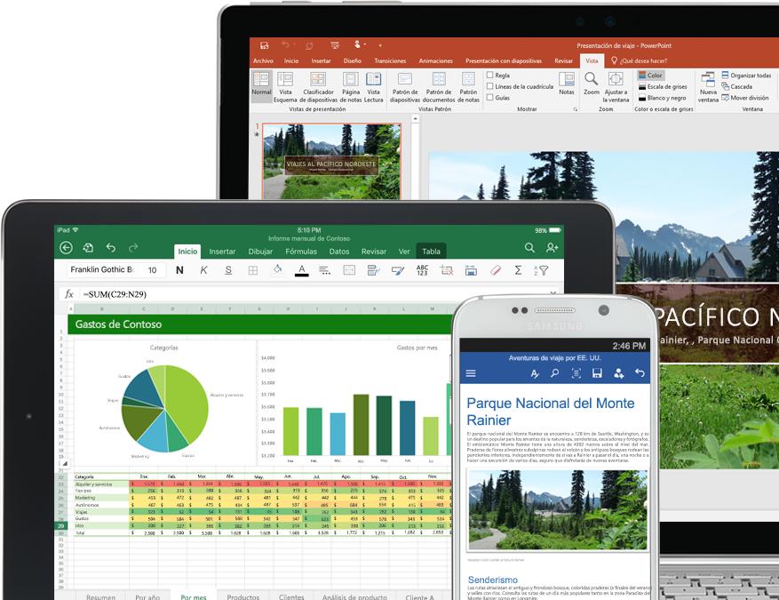 Smartphone, monitor de escritorio y dos tabletas con aplicaciones de Office 365