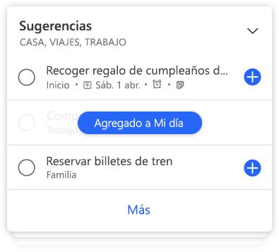 Detalles de una lista de To-Do donde se muestran sugerencias de tareas pendientes