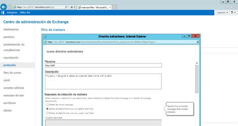 Captura de pantalla del centro de administración de Exchange, donde puede administrar la protección de datos.