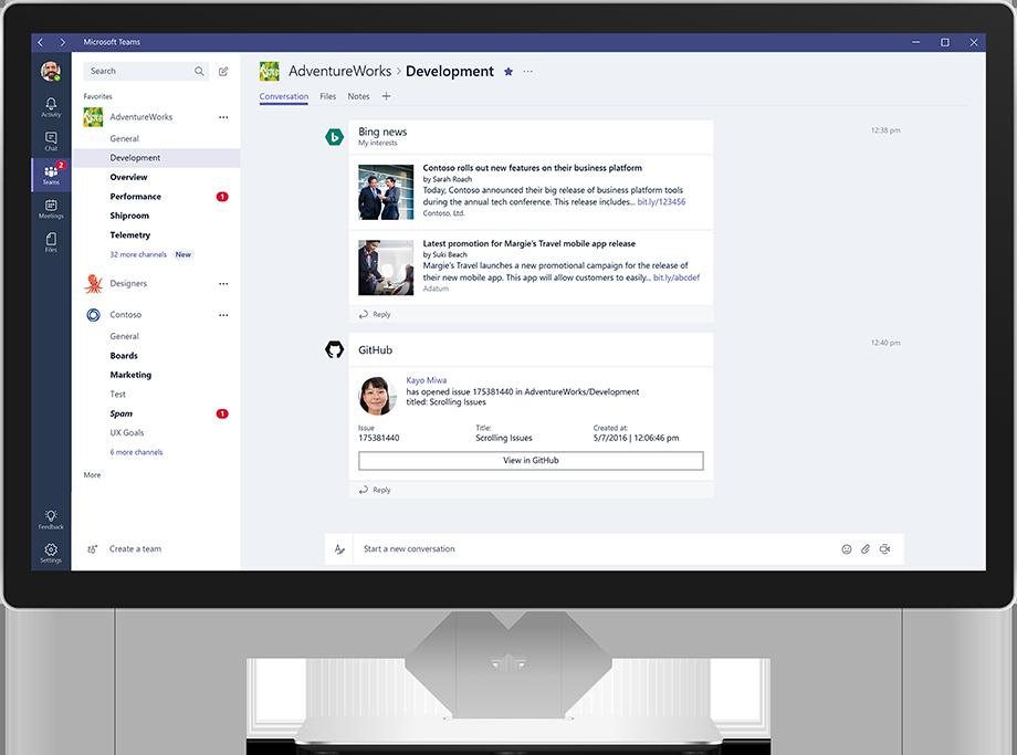 Monitor de un equipo Dell en el que se muestran noticias y conversaciones en Microsoft Teams