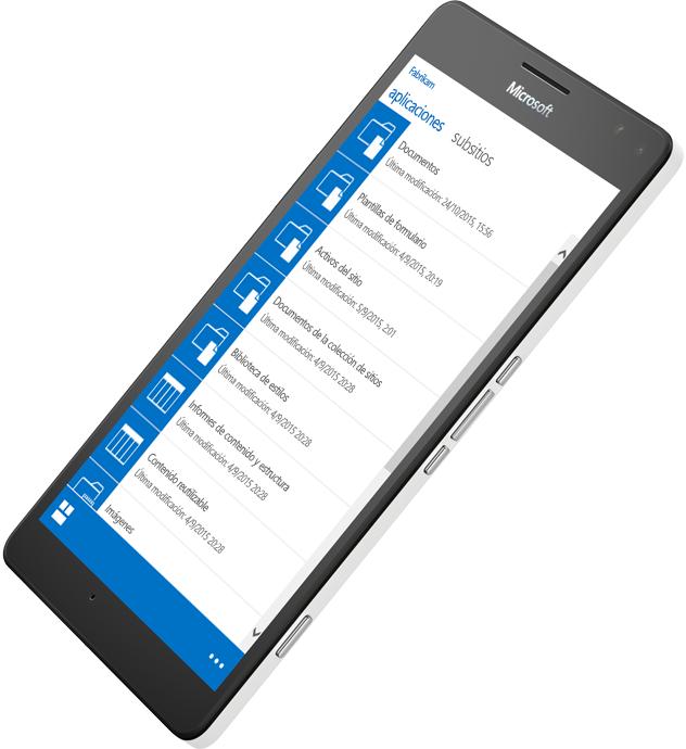 Dispositivo móvil donde se la aplicación SharePoint para acceder a información; más información sobre SharePoint Server 2016 en Microsoft TechNet.