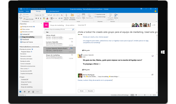 Responder rápido en una conversación de grupo de Outlook 2016