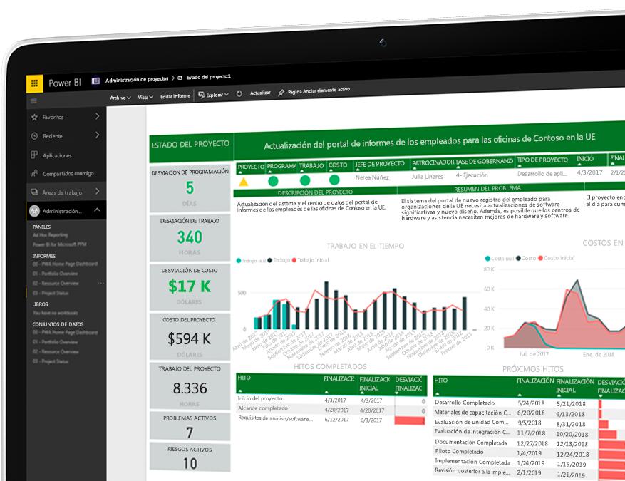 Dispositivo con el portal de creación de informes de empleados de Project abierto y que muestra datos numéricos y visualizaciones de datos