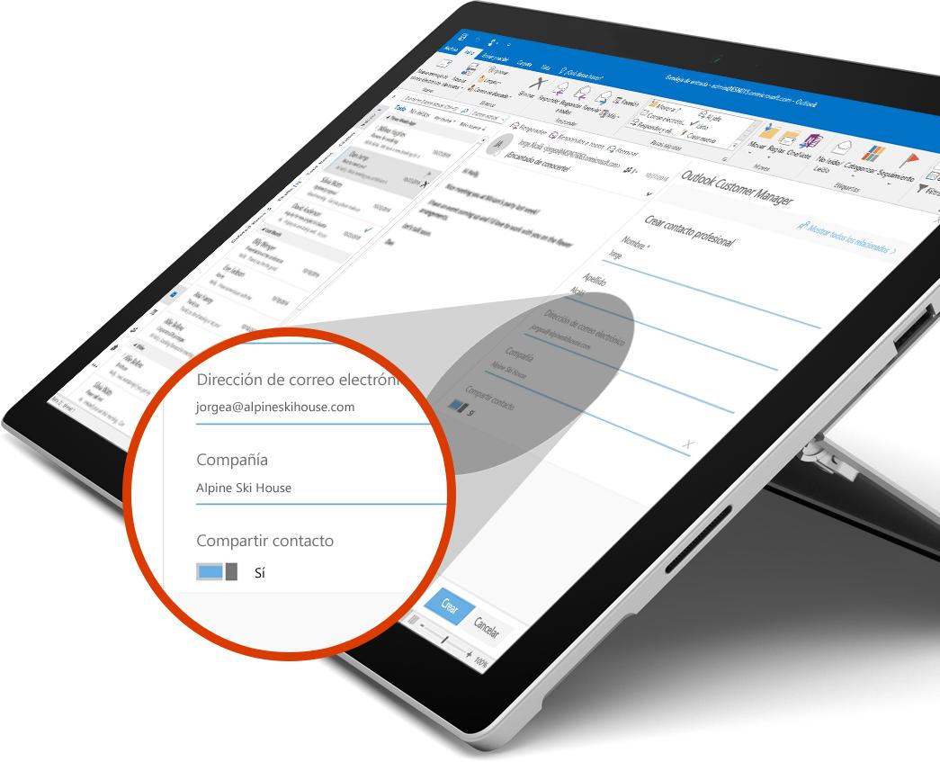 Libro de Microsoft Surface con una vista ampliada del botón Uso compartido
