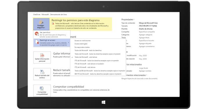 Una tableta que muestra la página Información del archivo en Visio con la opción Proteger diagrama seleccionada.