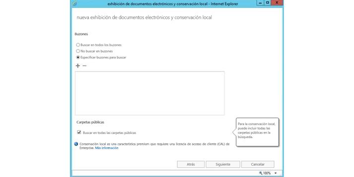Una ventana de Internet Explorer donde se muestra la característica de suspensión y eDiscovery local