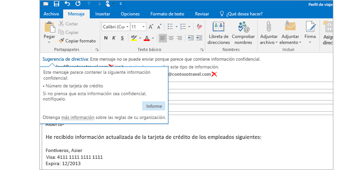 Imagen ampliada de un mensaje de correo electrónico con una sugerencia de directiva para ayudar a prevenir el envío de información confidencial.