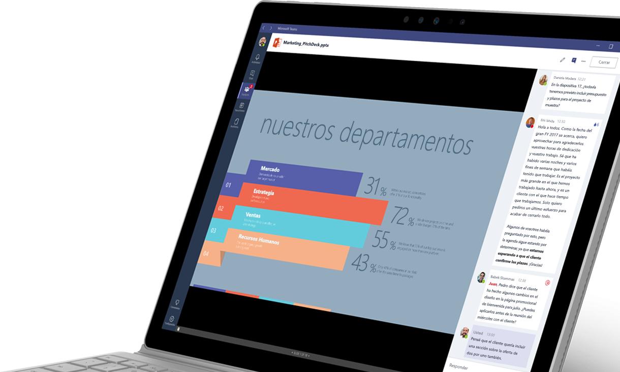 Un portátil en el que se muestra un gráfico y una conversación en Microsoft Teams