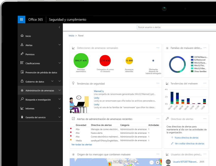 Panel de Inteligencia sobre amenazas de Office 365 en un portátil Windows