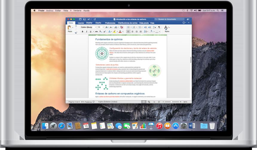 MacBook que muestra un documento de Word abierto en la pantalla principal