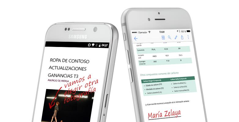Dos smartphones muestran documentos y notas escritas a mano acerca de ellos