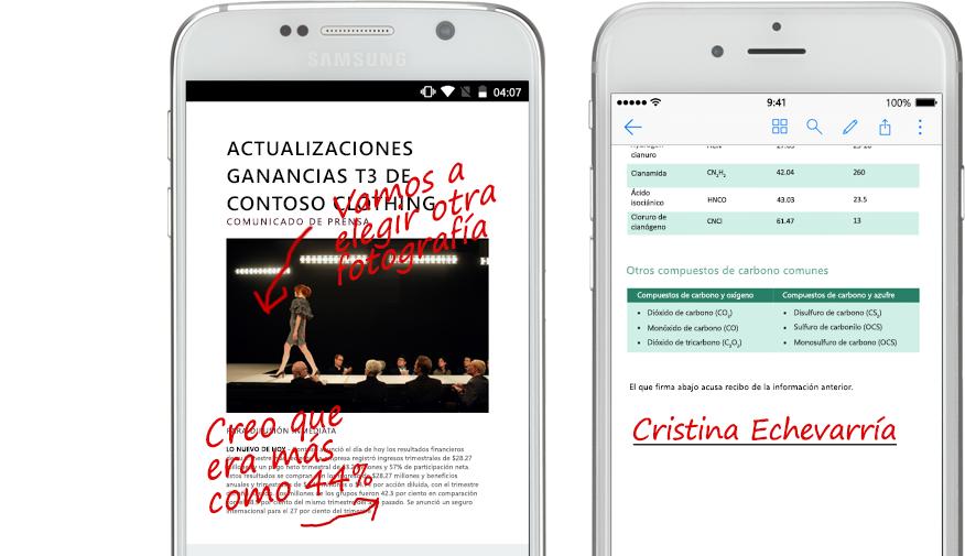 Dos smartphones con documentos y notas escritas manualmente acerca de ellos