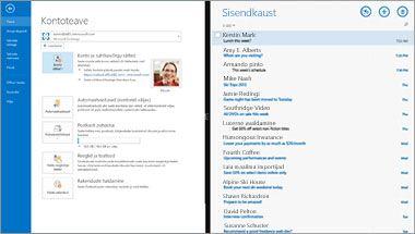 Kuvatõmmis, kus on näha Office 365 meiliteenuse kontoteabe leht ja sõnumiloend.