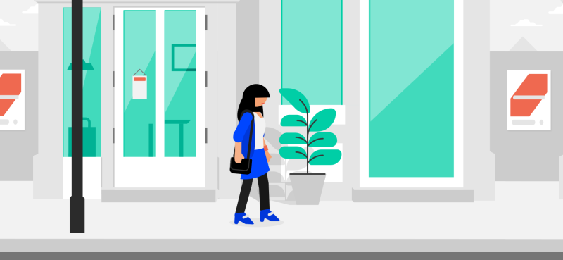 Woman walking down street