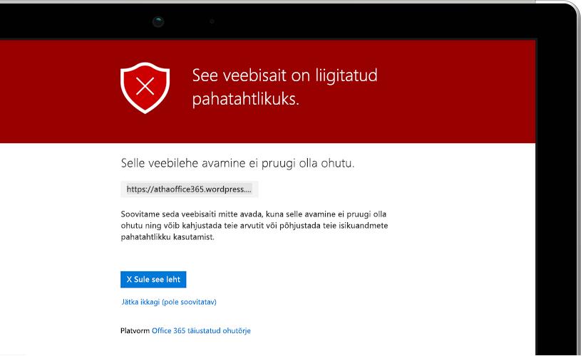 Lähivõte sülearvuti ekraanist, kus on kuvatud hoiatusteade