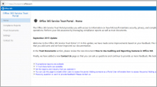 Office 365 teenuste usaldusväärsuse portaali leht, teave Office 365 teenuste usaldusväärsuse portaali kohta