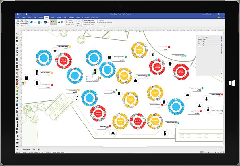Surface tahvelarvuti ekraan, kus on Visios andmete visualiseerimine