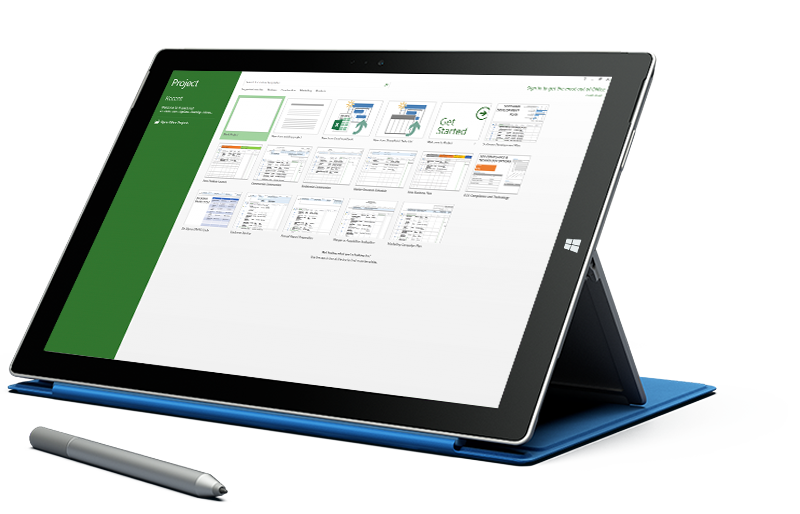 """Microsoft Surface'i tahvelarvuti, mille ekraanil kuvatakse Microsoft Projecti kuva """"Uus projekt""""."""