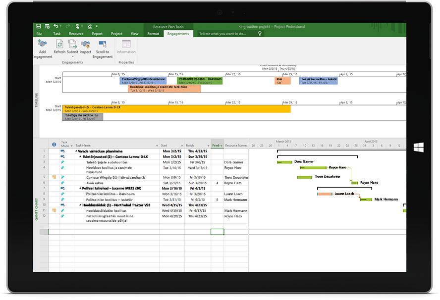 Microsoft Project Professionali projektifail tööplaani ja Gantti diagrammiga Microsoft Surface'i tahvelarvutis