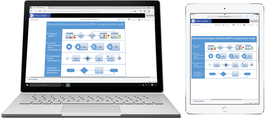 Sülearvuti ja tahvelarvuti, mille ekraanil on kuvatud Visio Online'is olev vooskeem