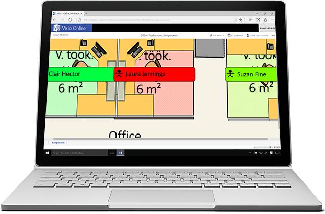 Sülearvuti, mille ekraanil on kuvatud Visio Online'is olev suurendatud pilt