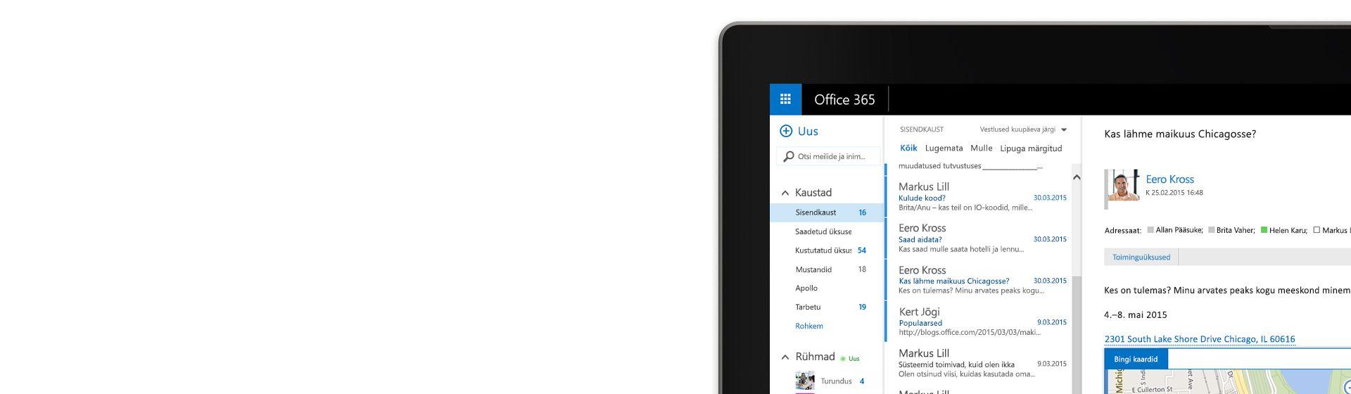 Arvutiekraani nurk, kus on kuvatud Office 365 meilipostkast